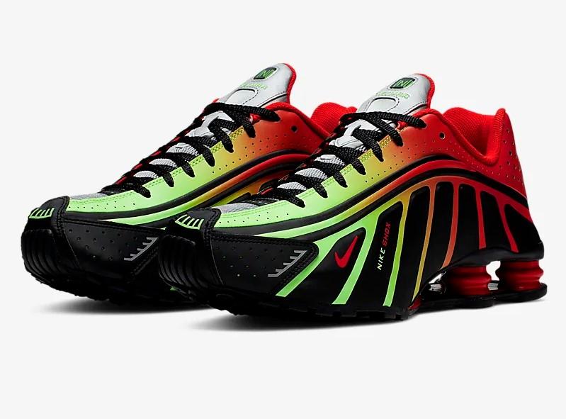 Nike Shox R4 Neymar Jr. Noir/Argent métallique/Vert citron explosion/Rouge défi pour Homme