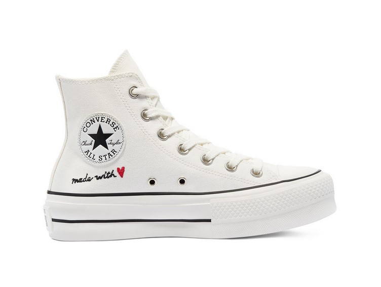 Converse Chuck Taylor All Star Plateform Valentine's Day montante vintage white/egret/black