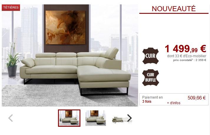 Canapé d'angle droit NALISSA en cuir ivoire
