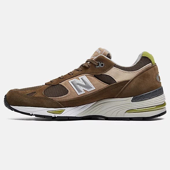 New Balance 991 Made in UK Dark Green with Beige & White pour Homme