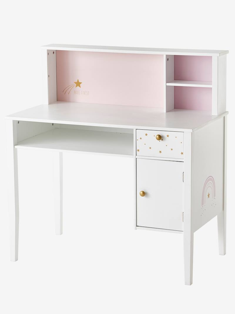 Bureau primaire MAKE A WISH blanc clair uni avec decor