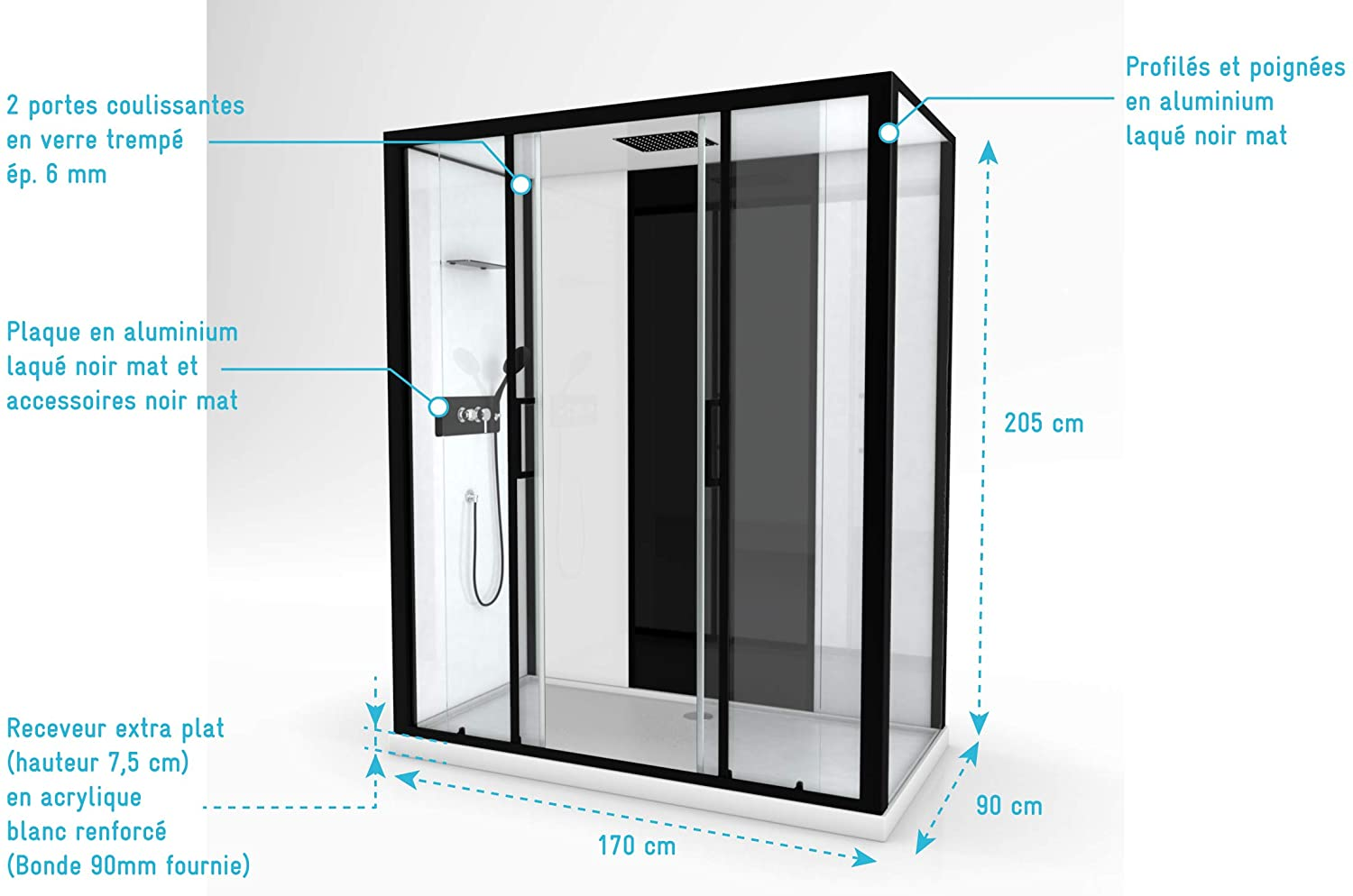Cabine de douche rectangle INFINITY LOW Aurlane
