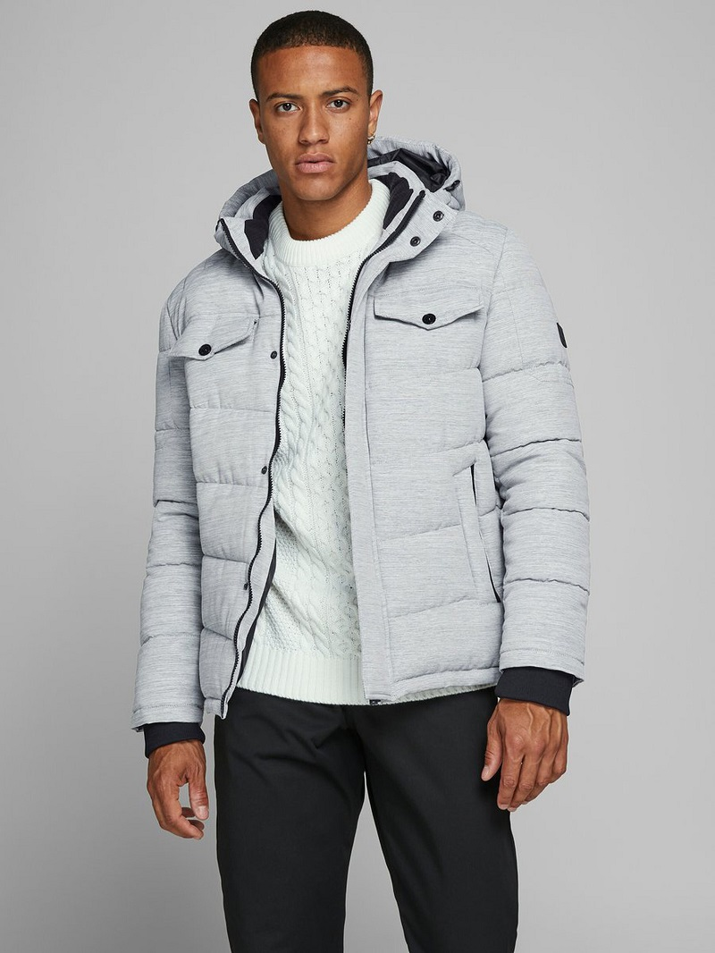 Jack & Jones Doudoune à Capuche Gris / Light Grey Melange