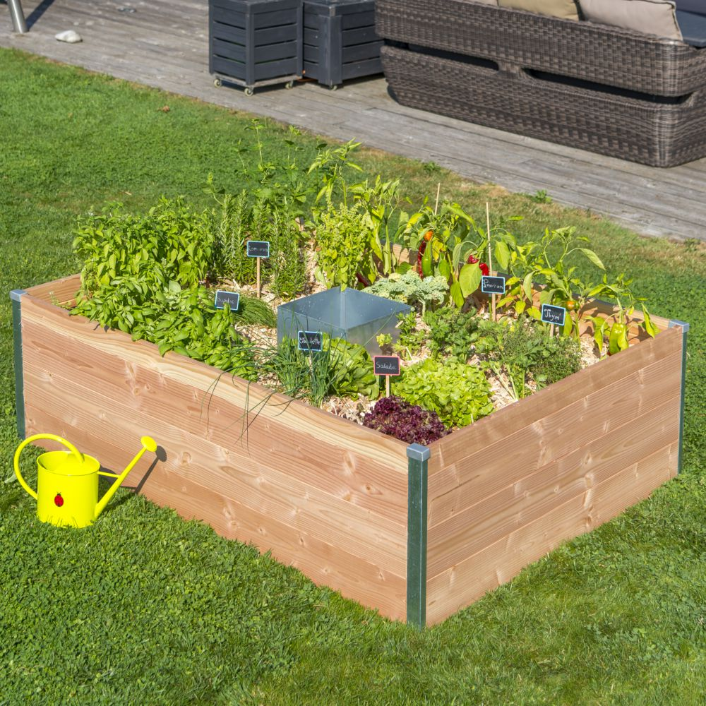 Potager Mobile En Bois carré potager en bois avec composteur keyhole santiago pas
