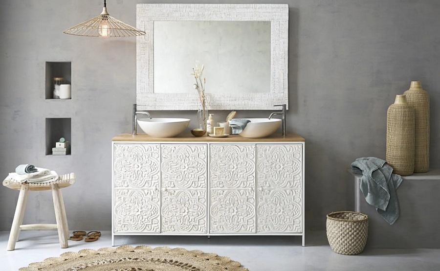 Meuble Double Vasque 4 Portes Kaloa En Manguier Et Metal Blanc Sculpte Meuble De Salle De Bain Maisons Du Monde Iziva Com