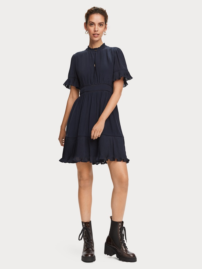 Scotch & Soda Mini robe plissée à manches courtes Night