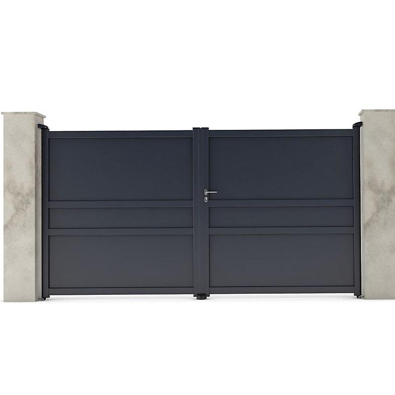 portail en aluminium coulissant new auteuil gris  portail