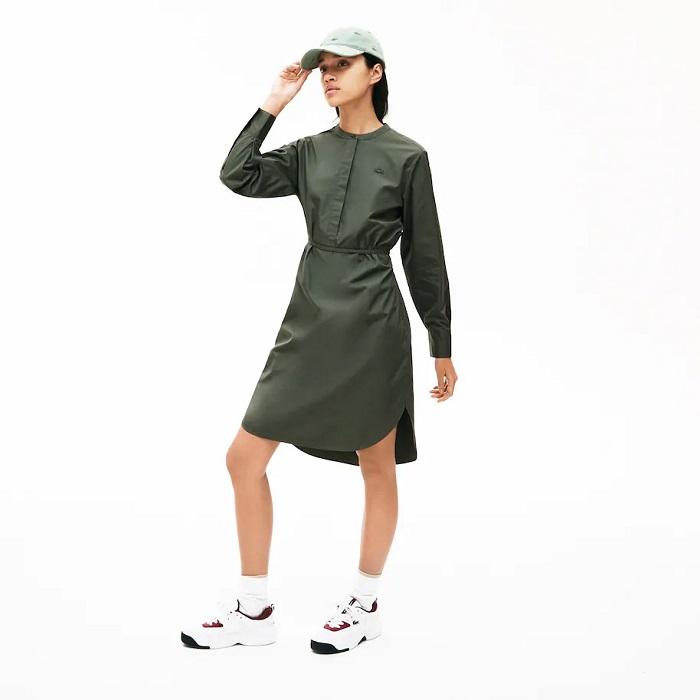 Robe chemise à col mao en coton Lacoste Vert Kaki