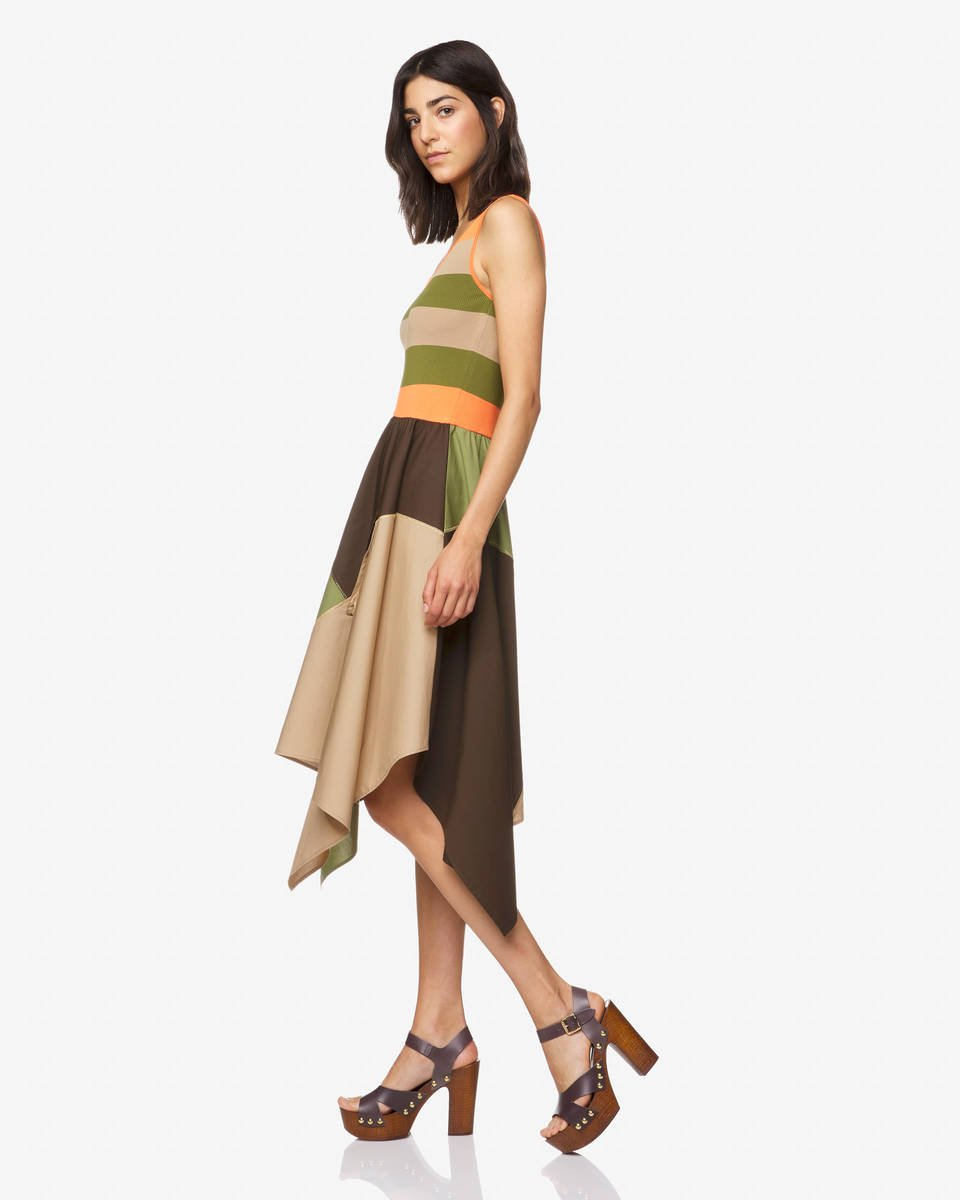 Robe color block Benetton Kaki