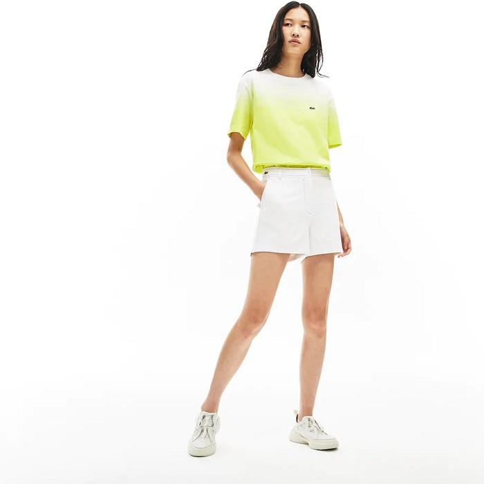 Short Made in France Lacoste avec surpiqûres contrastées Blanc