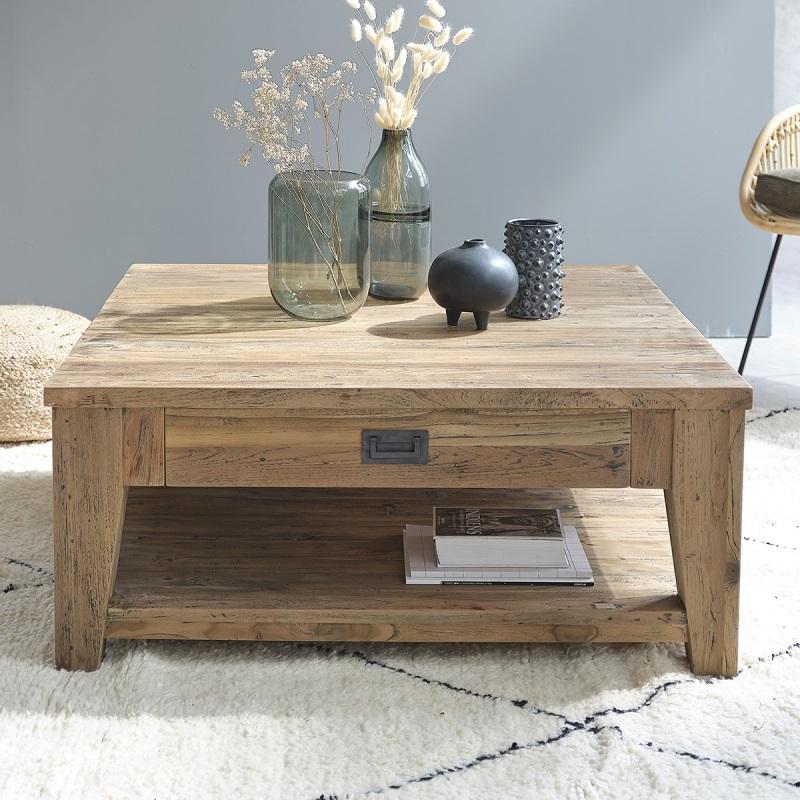 Table basse en bois de teck recyclé 120 CARGO - Table ...