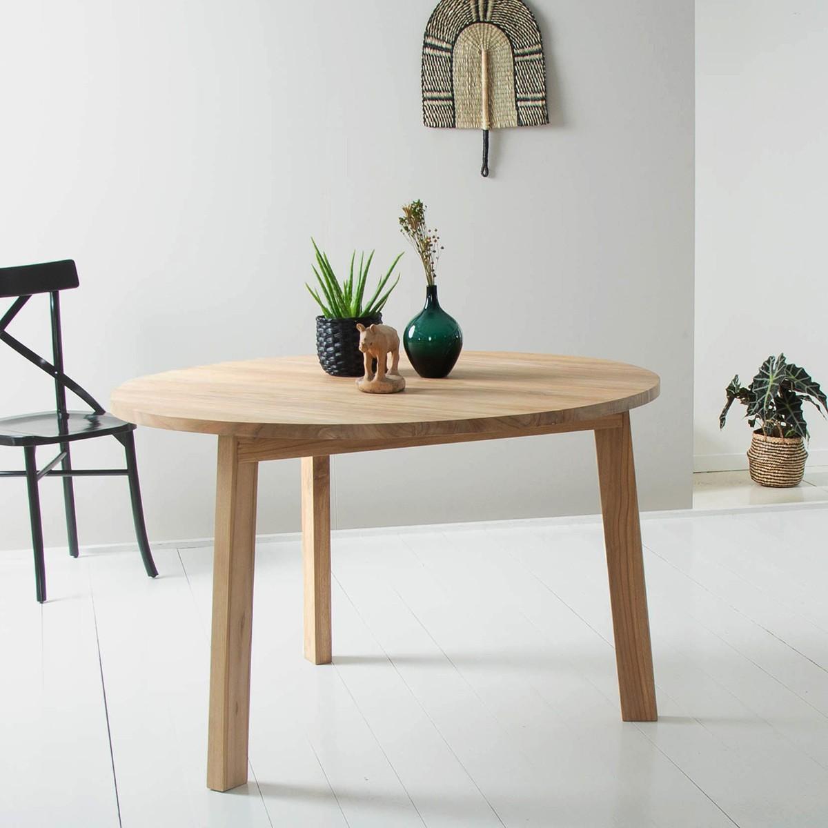 Table ronde 6 personnes CARGO en bois de teck recyclé - Bois