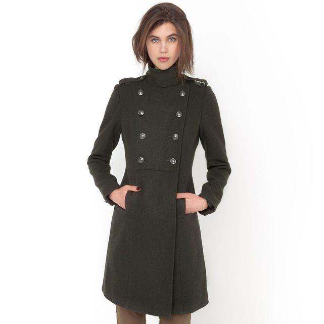 mieux choisir Bons prix prix bas Manteau militaire col montant 50% laine R Essentiel ...