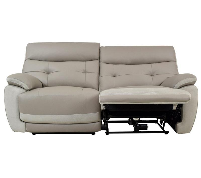 Canapé 3 places 2 relax électrique EDEN II cuir et tissu taupe et perle