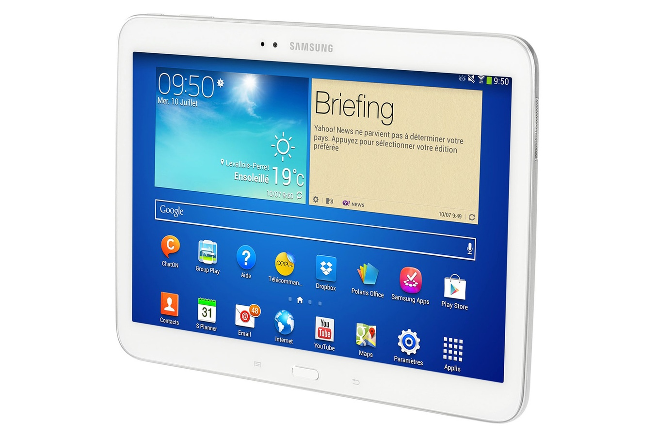 tablette tactile samsung galaxy tab 3 blanc 10 1. Black Bedroom Furniture Sets. Home Design Ideas