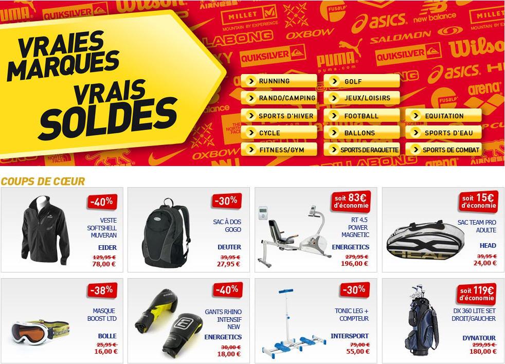 SOLDES Intersport , Soldes ,70% sur tout le Sport chez Intersport.fr