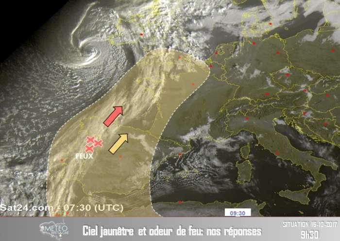 L'ouragan Ophélia crée un soleil rouge et un ciel jaune en Bretagne et au Royaume-Uni