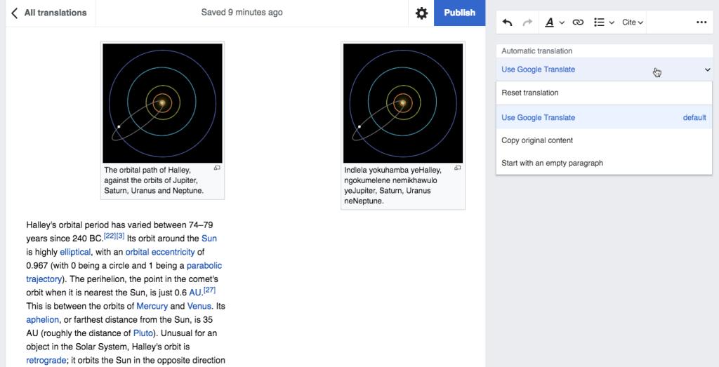 Wikipédia fait appel à Google Translate pour ses traductions