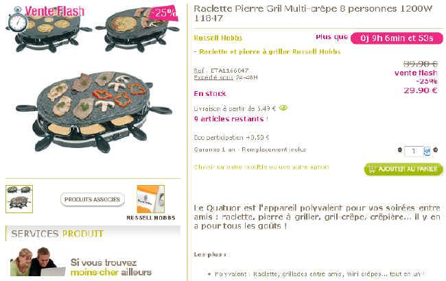 Achat Pas cher Raclette Pierre Gril Multi-crêpe Prix 29.90 Euro