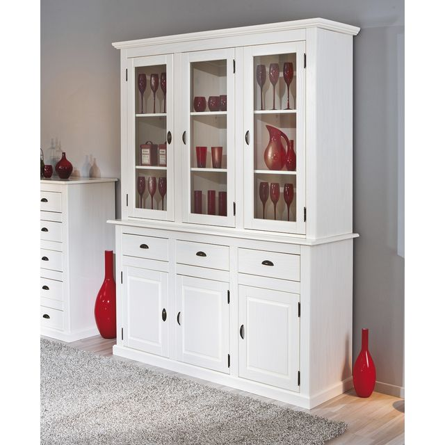 vaisselier manaus 6 portes 3 tiroirs bois blanc vaisselier mistergooddeal. Black Bedroom Furniture Sets. Home Design Ideas