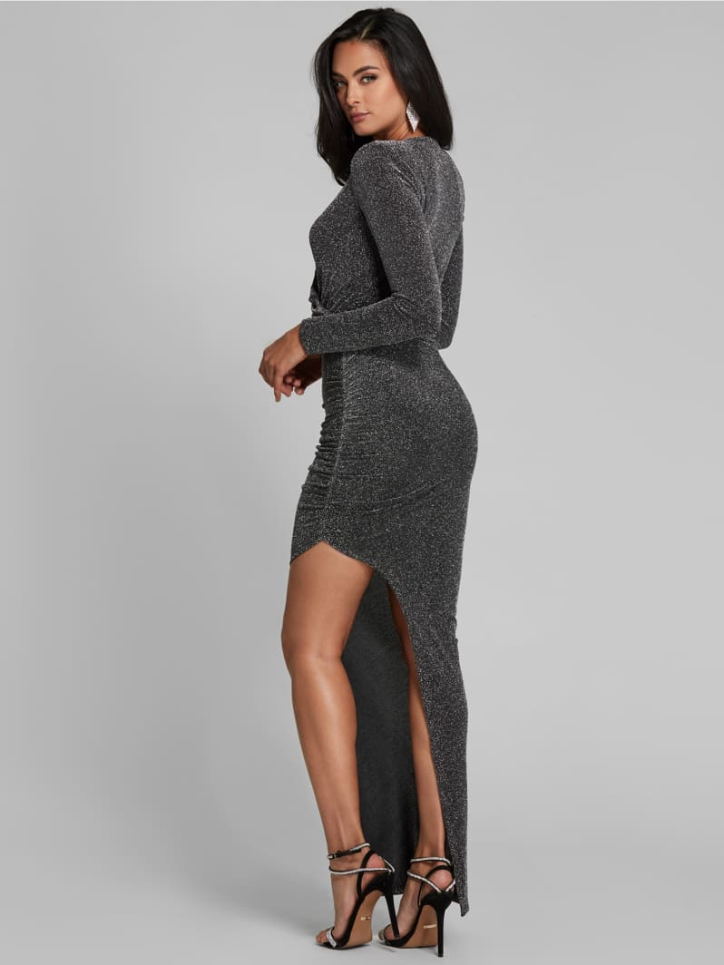 ROBE LONGUE MARCIANO ASYMETRIQUE Guess Argent