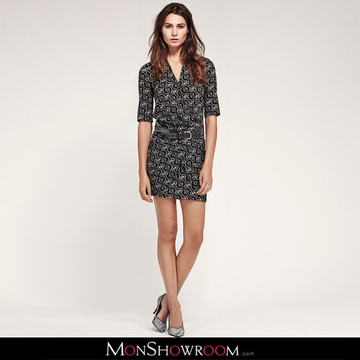 robe portefeuille noire sawda ikks women robe. Black Bedroom Furniture Sets. Home Design Ideas