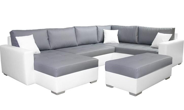 Canapé d\'angle droit et pouf coffre simili TITAN - Soldes Canapé ...