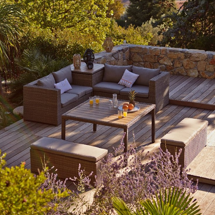 Salon d\'angle résine aspect tressée et composite - Salon de jardin ...