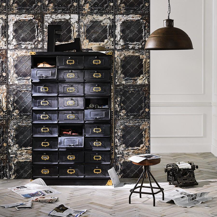 cabinet de rangement en mtal noir office cabinet maisons du monde
