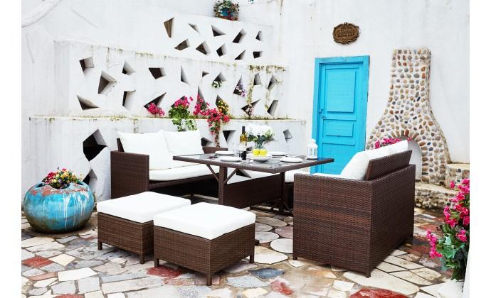 Salon de jardin encastrable Nouméa en résine tressée marron ...