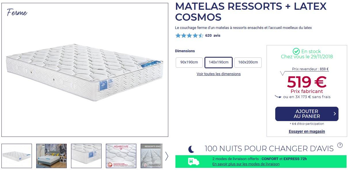 Matelas Ressorts Ensaches Et Latex Cosmos Belle Literie Pas Cher