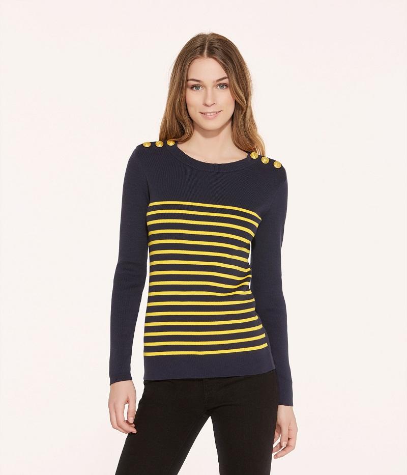 ab11d475fecc3 Pull marin femme rayé bleu Smoking / jaune Shine Petit Bateau - Pull ...