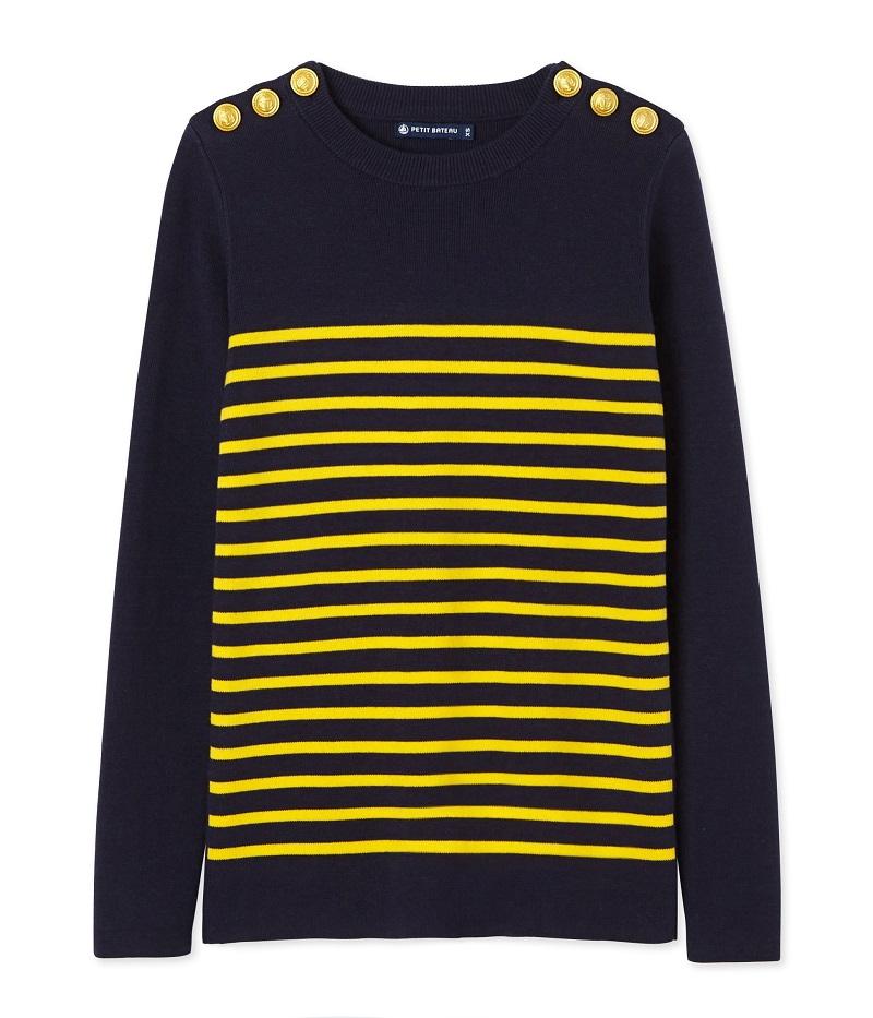 meilleure sélection 74087 4a24e Pull marin femme rayé bleu Smoking / jaune Shine Petit Bateau