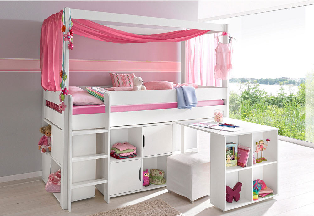 lit combin avec plan de travail rangements lit enfant 3 suisses. Black Bedroom Furniture Sets. Home Design Ideas