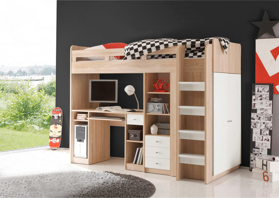 ensemble lit mezzanine avec bureau penderie tag re lit enfant 3 suisses. Black Bedroom Furniture Sets. Home Design Ideas