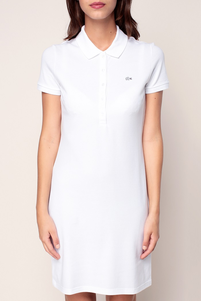 lacoste robe polo blanche avec logo brod robe monshowroom. Black Bedroom Furniture Sets. Home Design Ideas