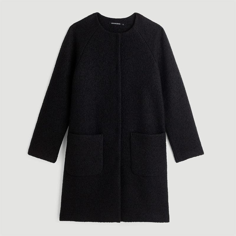 Monoprix Manteau ample sans col 50 % laine noir