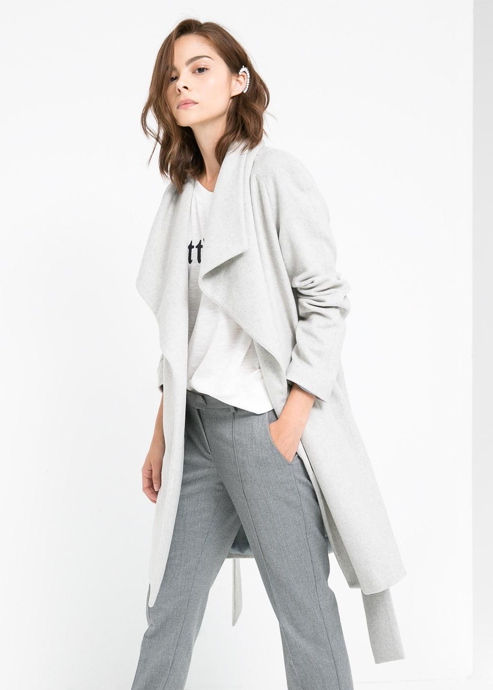 Manteau en laine gris mango