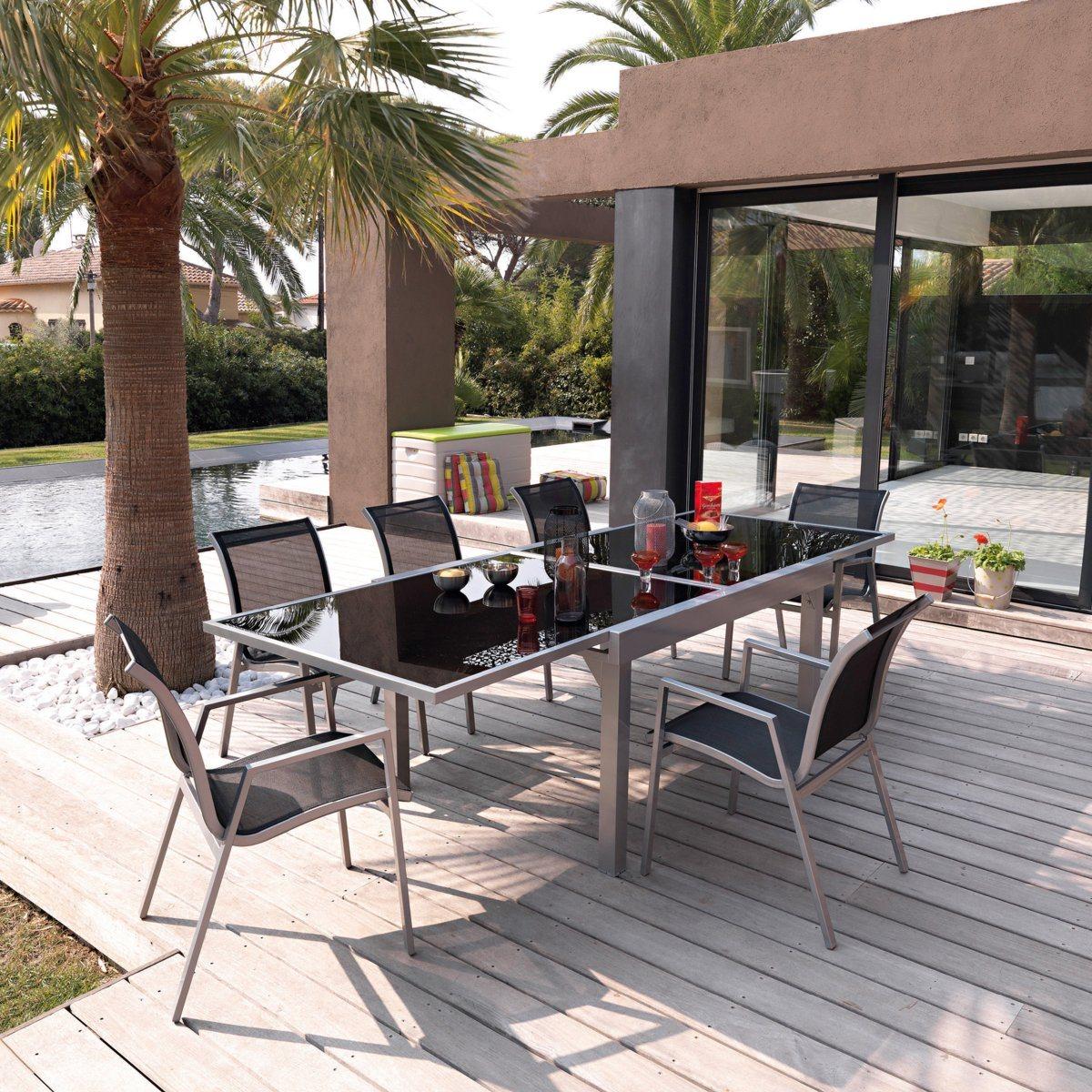 Salon de jardin métal et verre, table + 6 chaises La Redoute ...