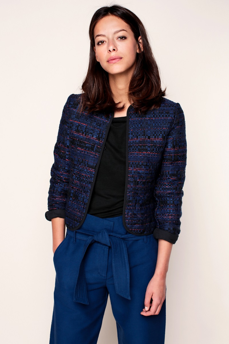 Sessun Femi Veste matelassée bleue fils rouges pailletés - Monshowroom