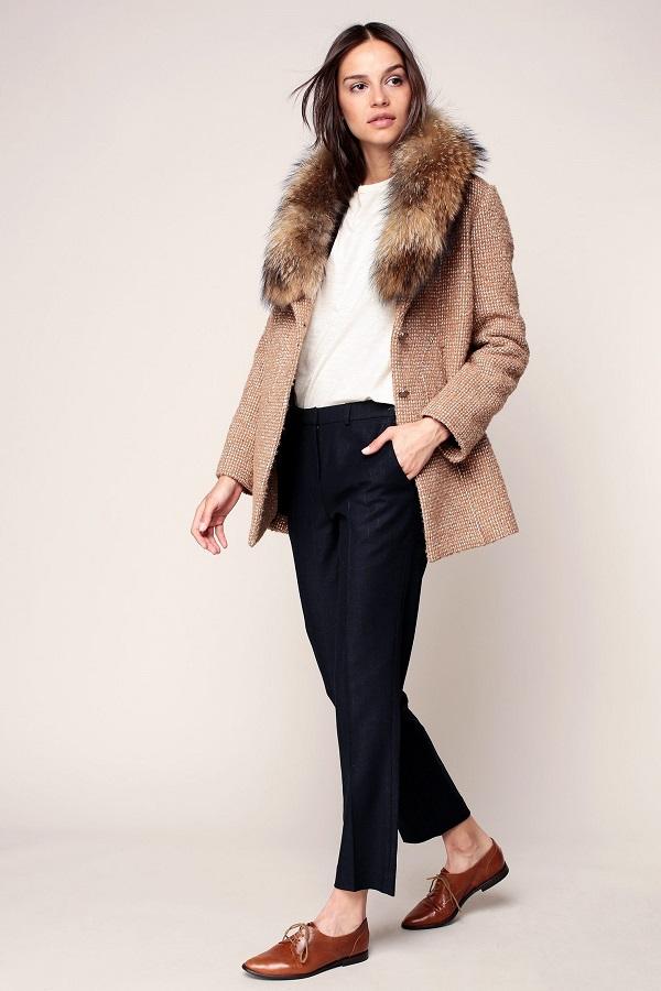 Ba&sh Perle Manteau en laine camel/blanc col fourrure amovible