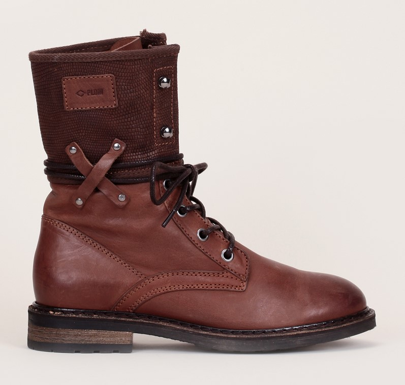 Palladium Bupswing Boots à lacets en cuir marron empiècement texturé - Monshowroom