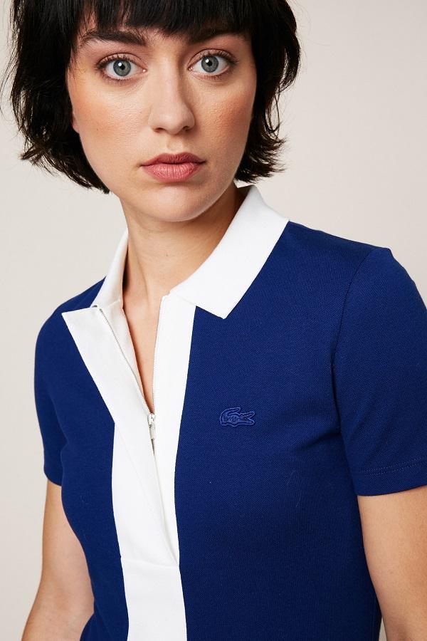 Contrasté Blanc Monshowroom Polo Bleu Femme Marine Lacoste qItCTI