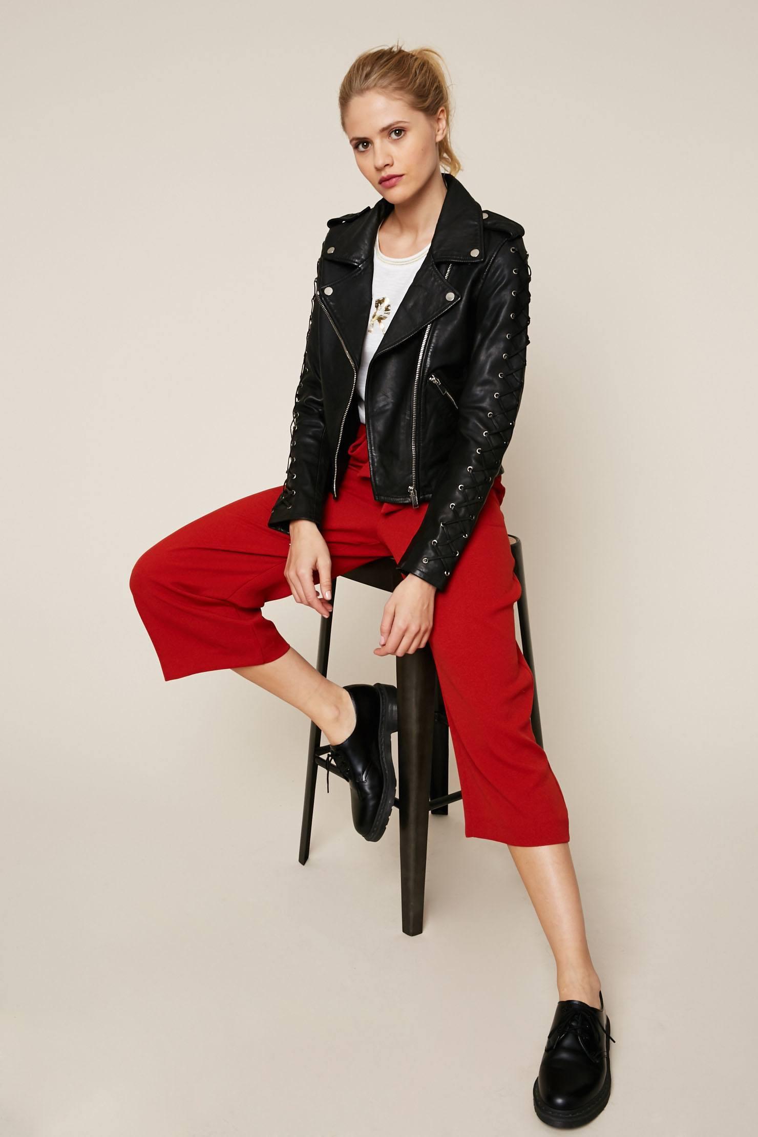 Ikks women Perfecto manches fantaisie lacets en cuir noir - Monshowroom