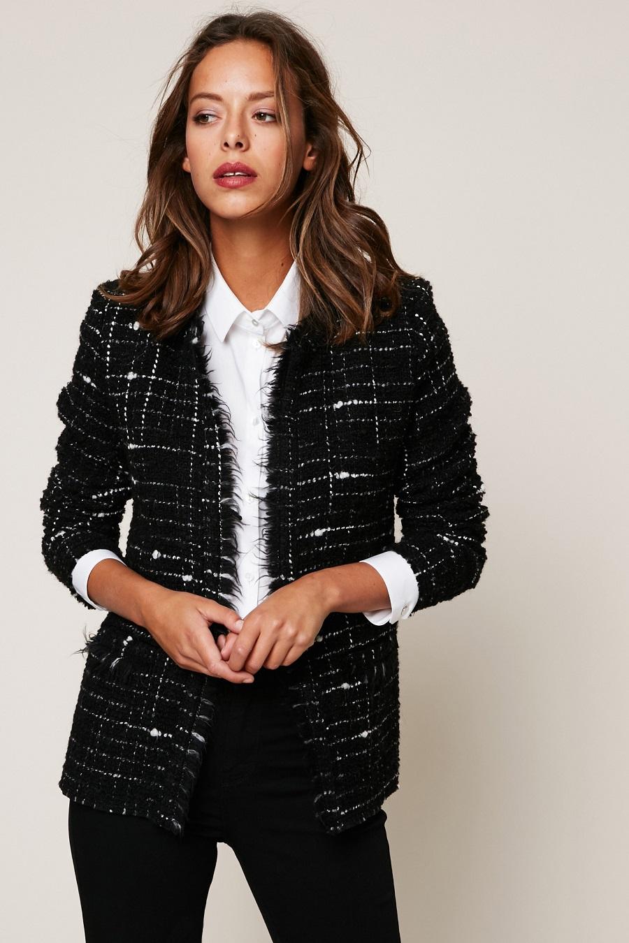 veste longue en tweed femme vestes la mode 2018. Black Bedroom Furniture Sets. Home Design Ideas