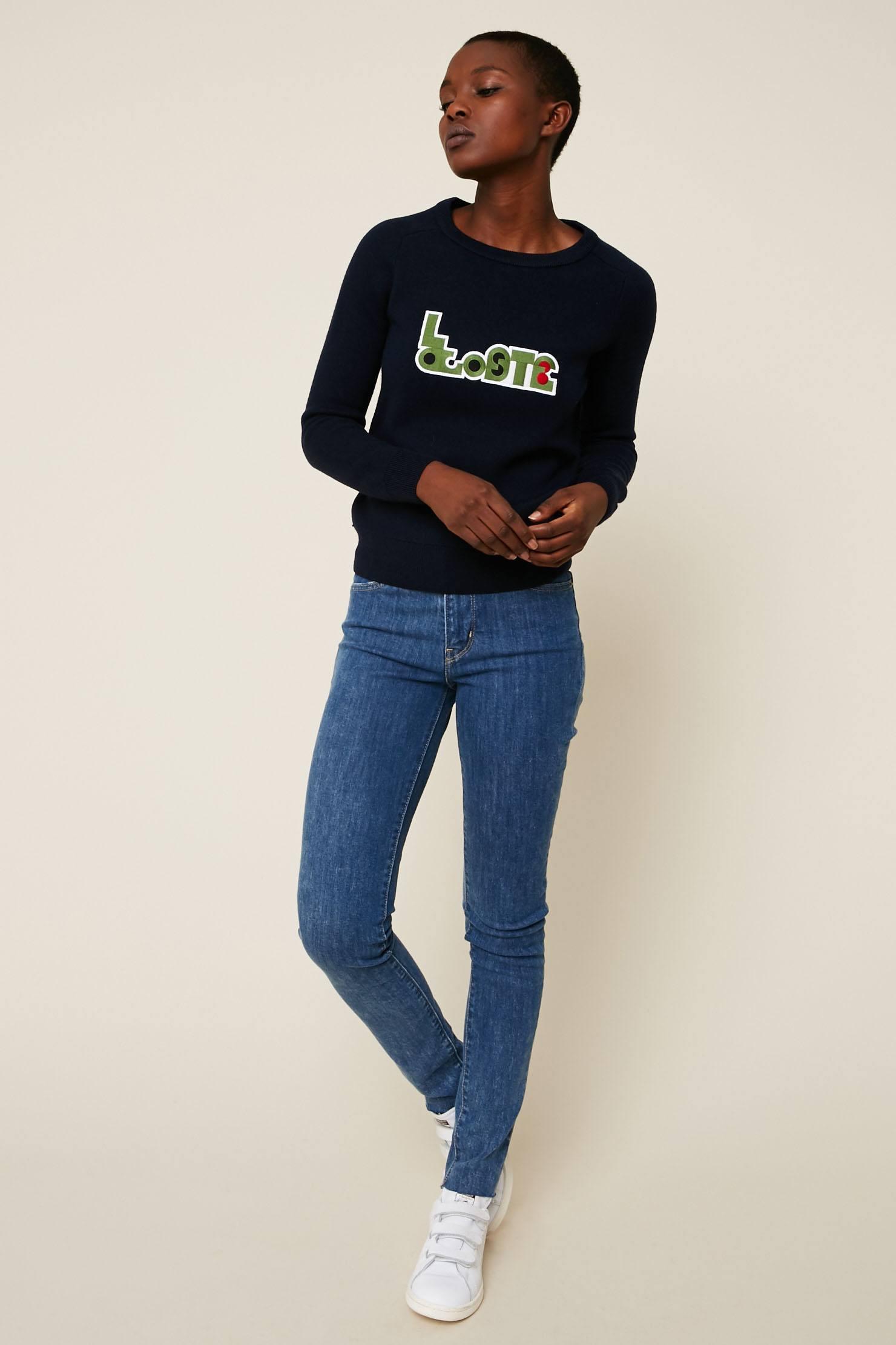 Lacoste Pull en laine marine brodé logo marque - Monshowroom
