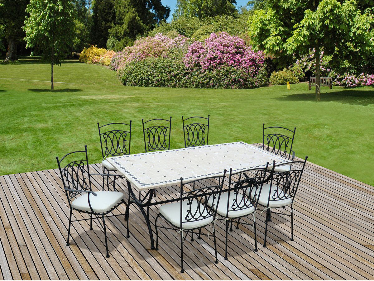 Salon de jardin alice s garden table 200cm 8 places for Table jardin la redoute