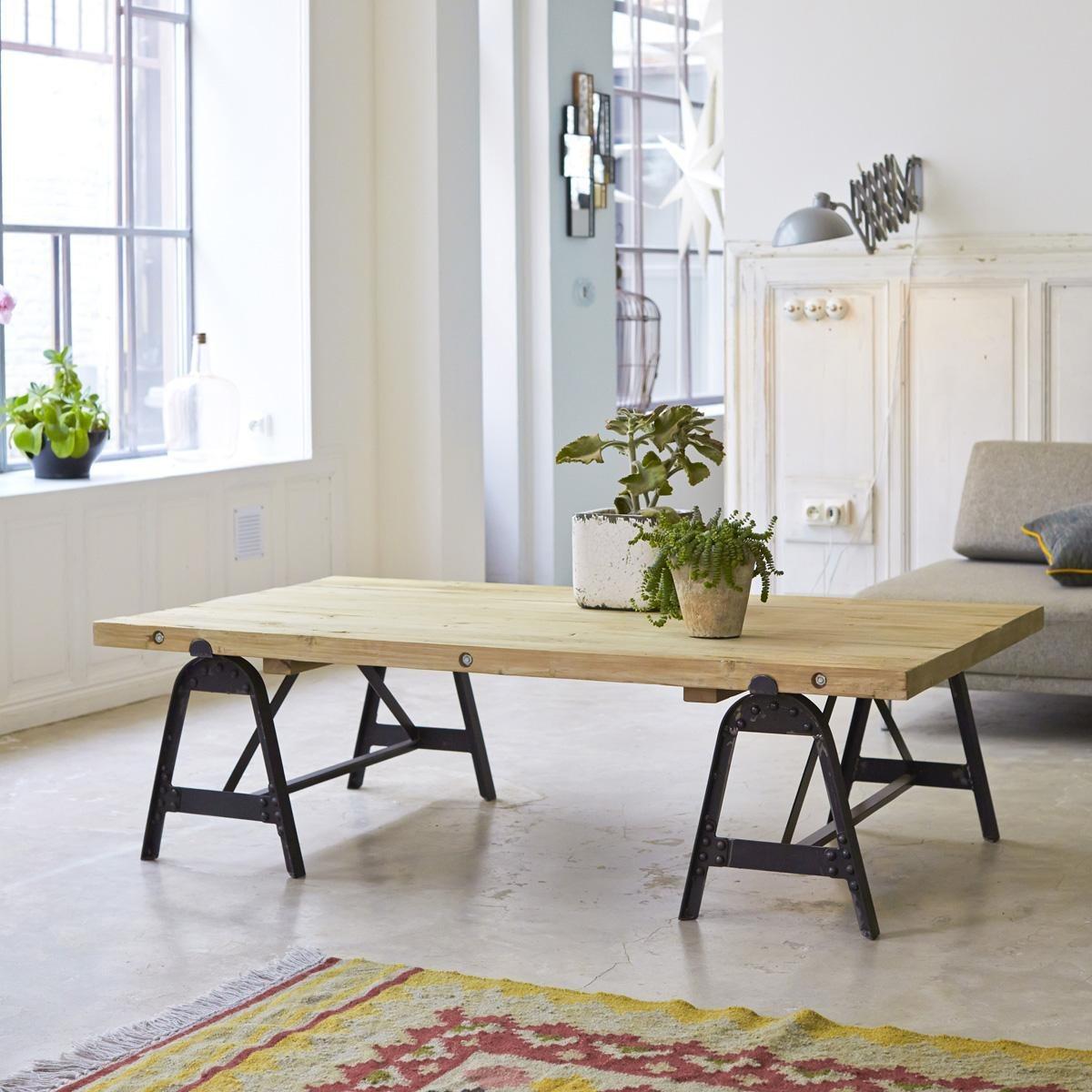 table basse eliot tikamoon en m tal et pin table basse la redoute. Black Bedroom Furniture Sets. Home Design Ideas