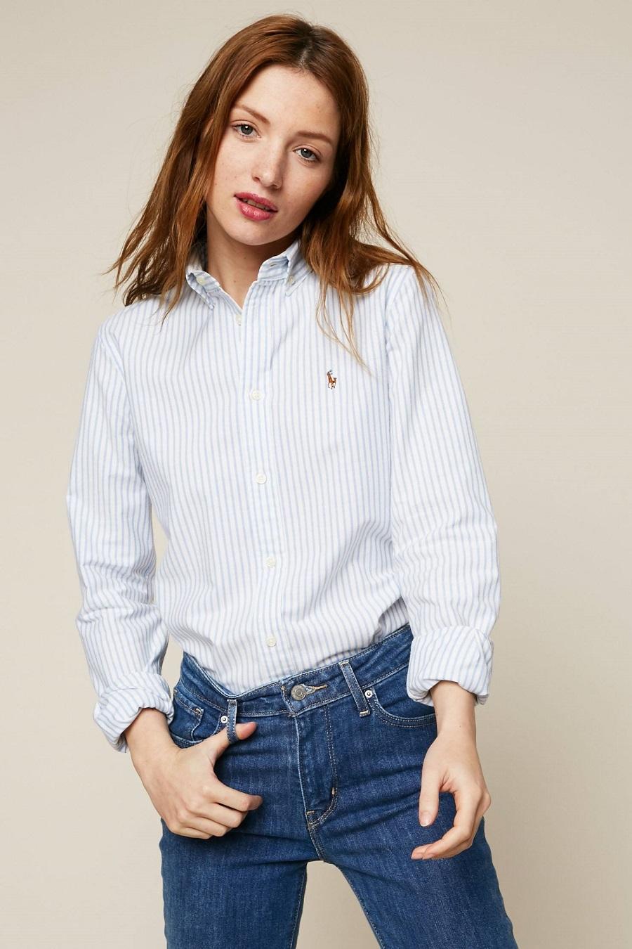 6d071b237b8 Polo Ralph Lauren Chemise à rayures blanc et bleu - Chemise Femme ...
