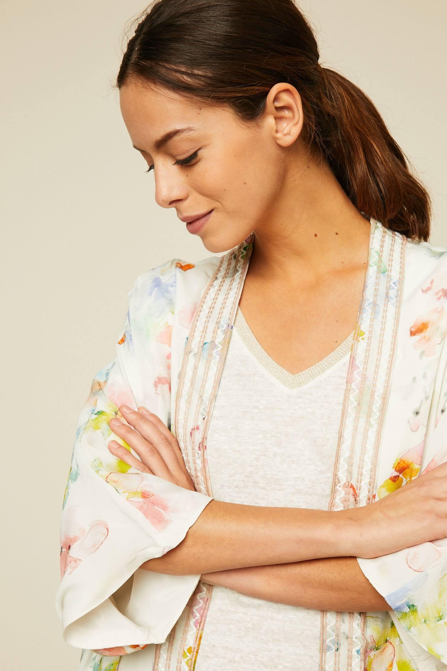 Ikks women Kimono imprimé aquarelle fleurs blanc cassé